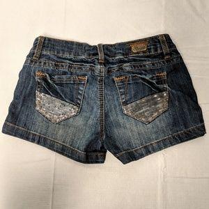 1st Kiss Jean shorts sequin patch sz 1